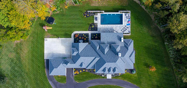 Aerial view of a custom first floor master home in Indian Hill designed by the Robert Lucke Group