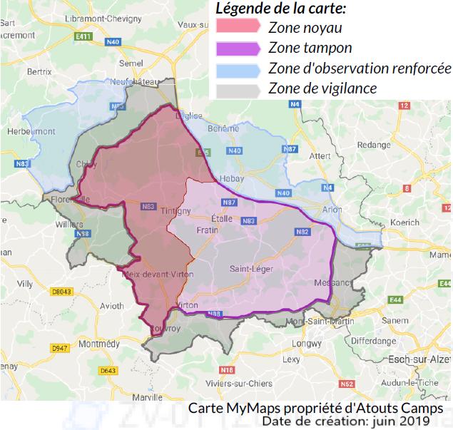 Carte interactive des zones officielles de la PPA