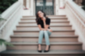 Chanel Baring - Duong Sitting on stairs in San Francisco, CA