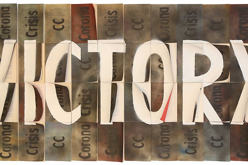 Corona Crisis Victory - 88cm x 201cm - Sprac on Law Books on Wood - 2020