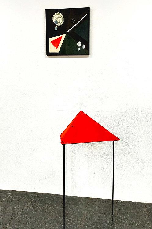 Komposition mit rotem Dreieck - ink on wood, steel frame