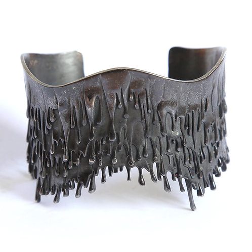 Blackened Rhodium plated on Sterling Silver Gravity Bracelet