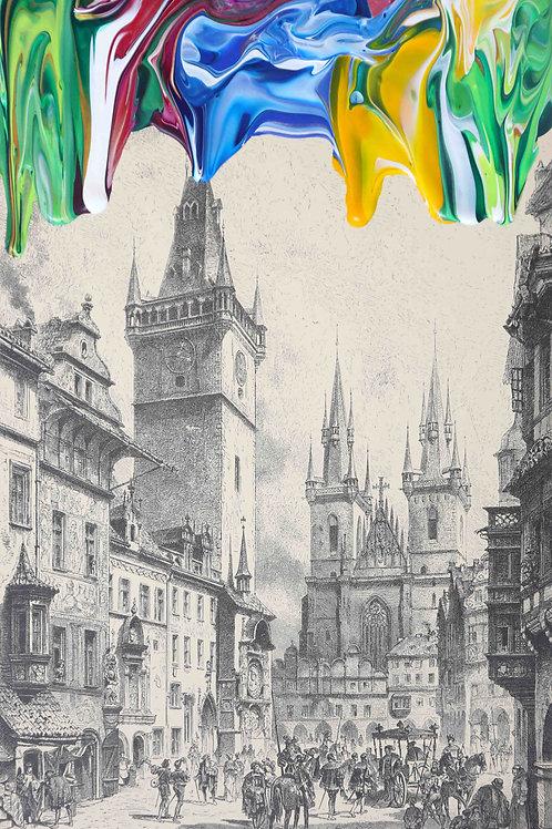 Stadtbild aus dem 16. Jahrhundert - 16.5cm x 26.5cm - 2020