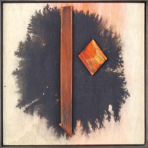 Warten - 23cm x 23cm - relief, ink on wood, steel frame