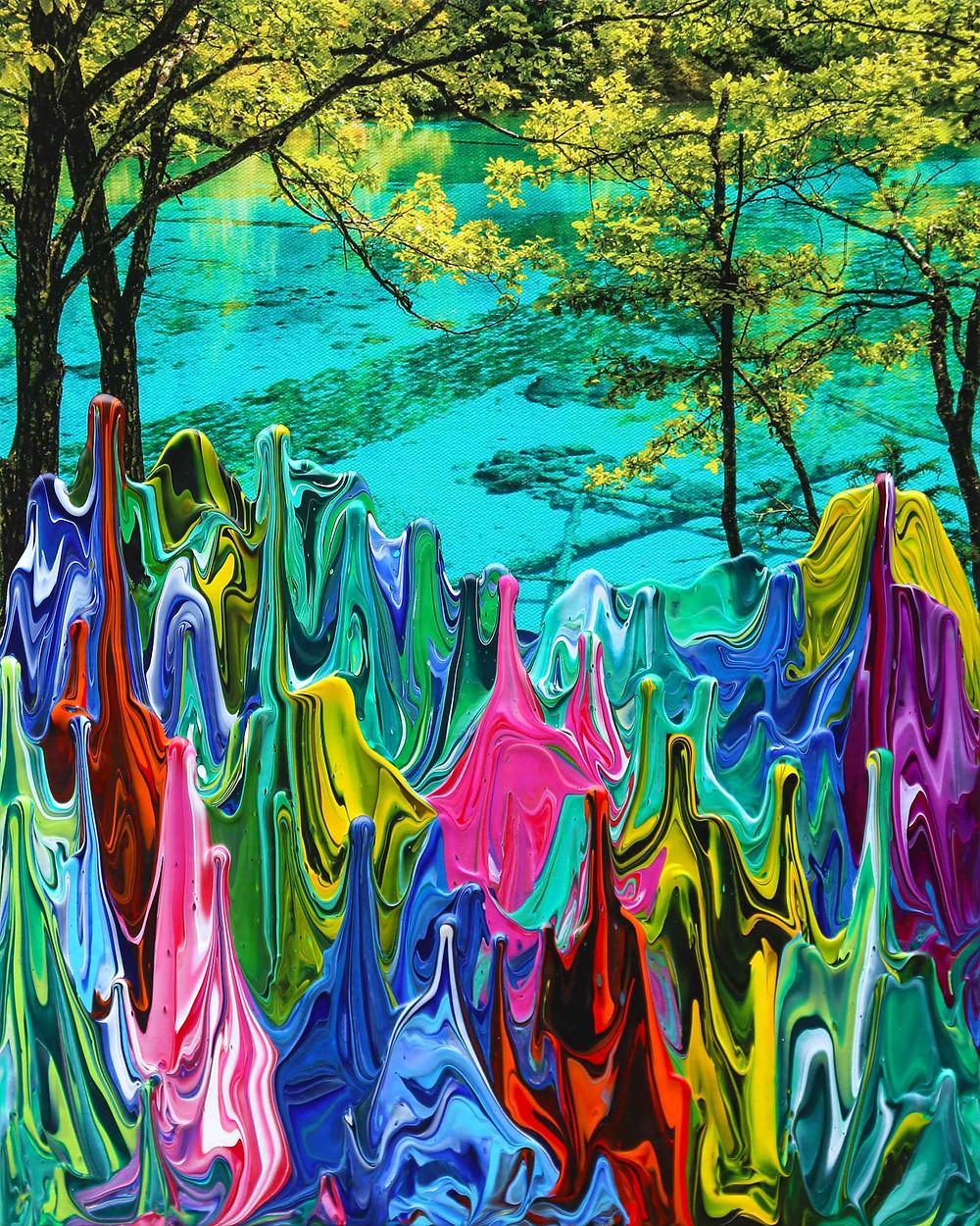 Five Color Pond - Gravity China (Jiuzhaigou) - 40cm x 50cm - artist Antonio Wehrli