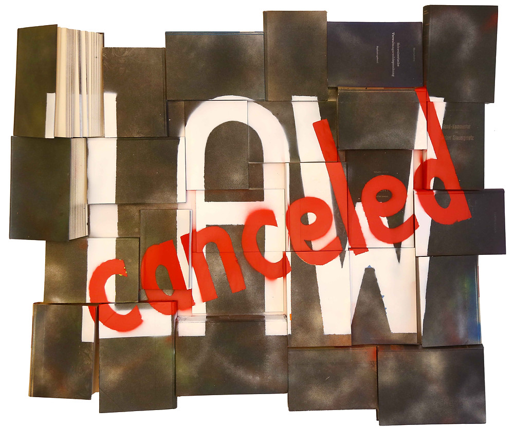 "Antonio Wehrli - ""LAW – canceled"" - 97cm x 114cm - Spray on Law Books on Wood - 2020"