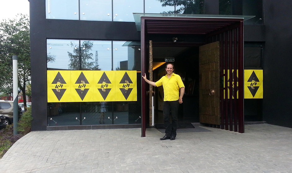 Artist Antonio Wehrli at the Exhibition entrance
