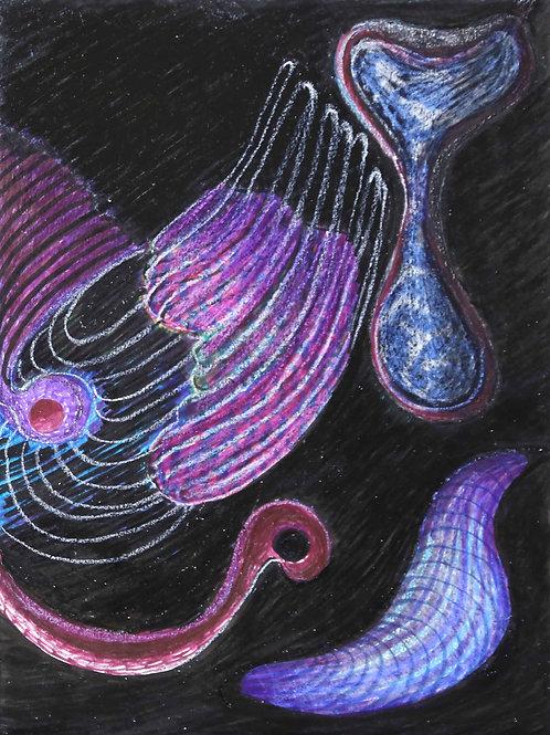 Oceans (Oil pastels on Paper)