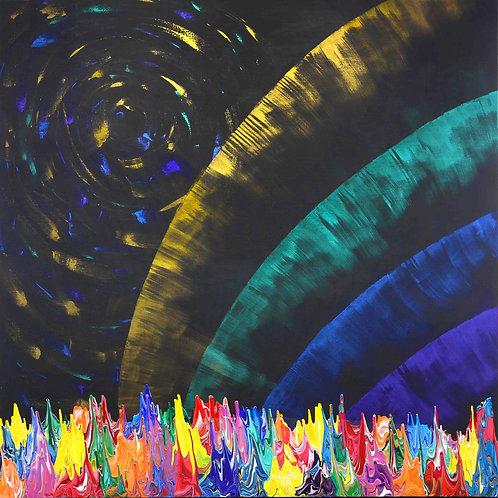 Galaxy Gravity 20210830 - 190cm x 190cm - Acrylic on Canvas - 2021