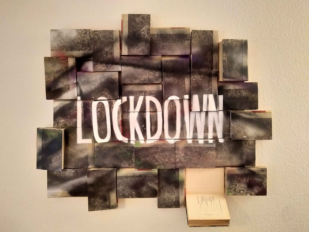 Lockdown - Spray on Books on Wood - 2020 - Antonio Wehrli