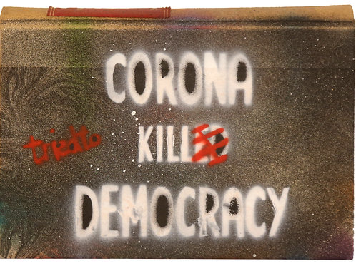 Corona tried to kill Democracy - Monospray 1911 - Spray on Law Book - 2020