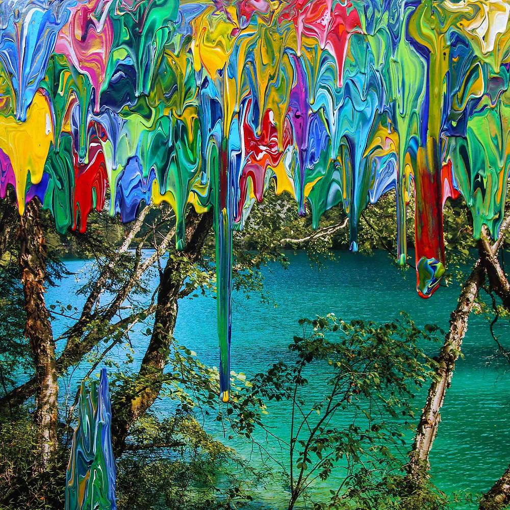 Clear Waters – Gravity China (Jiuzhaigou) - 105cm x 105cm - artist Antonio Wehrli