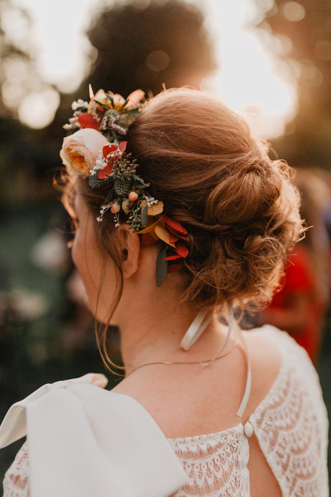 mariage boho Nord couronne de fleurs mariée bohème