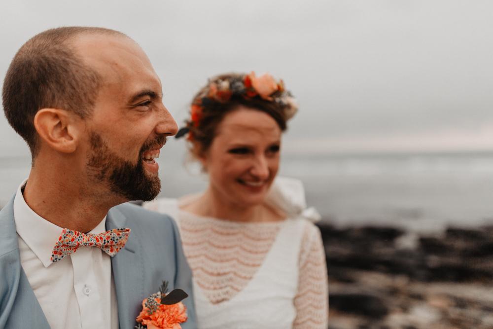 Mariage bohème séance couple bord de mer