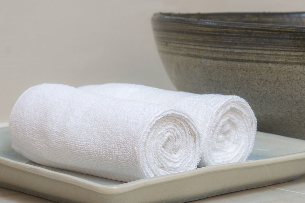Rolled hotel towels