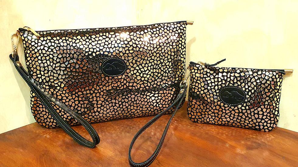Small Fantasy leather clutch bag