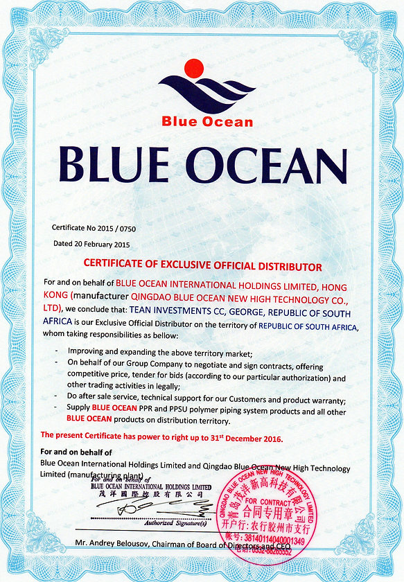 Tean Investments & Blue Ocean Certificate of Exclusive Official Distributor