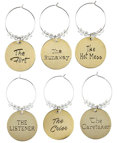 WINE CHARM SET - PERSONALITIES SET IN STAINLESS IRON