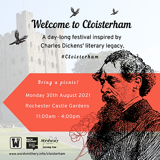 Welcome to Cloisterham poster / 30 August 2021 / Rochester Castle Gardens