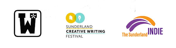 Partner logos - Wordsmithery, Sunderland Creative Writing Festival and The Sunderland Indie