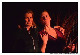 Photo from the play. Aphra Behn and Nell Gwynne