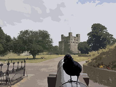 A raven sits on a canon with Rochester Castle in the background.