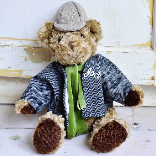 Tweed Style Teddy Bear  - PERSONALISED