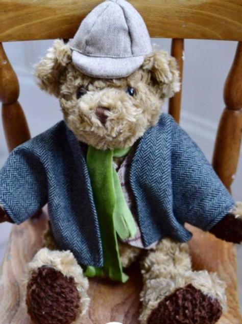 Tweed Style Teddy Bear  - PERSONALISED