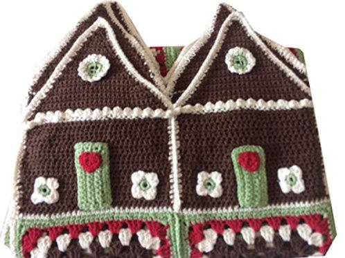 Handmade Crochet Gingerbread House Blanket