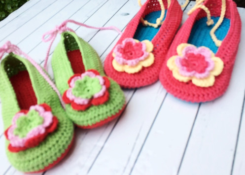 Childs Crochet Ballet Slippers Handmade