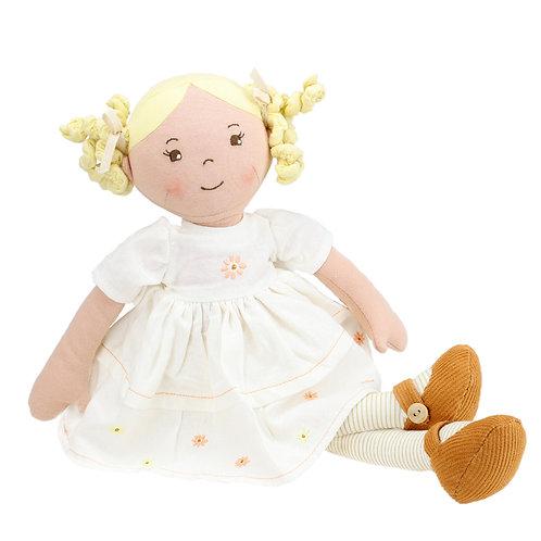 Soft Cream Linen Luxury Doll - BLONDE CURLS