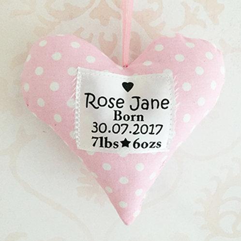 Handmade Heart Baby Girl Decoration