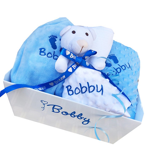 New Blue Baby Gift - Personalised Tray