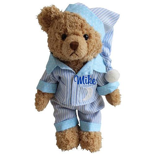 Blue Sleepy Time Teddy Bear - PERSONALISED