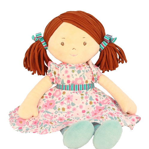 Turquoise and Pink Floral Doll - PERSONALISED