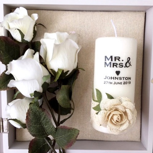 Rustic Rose Wedding Candle - Personalised