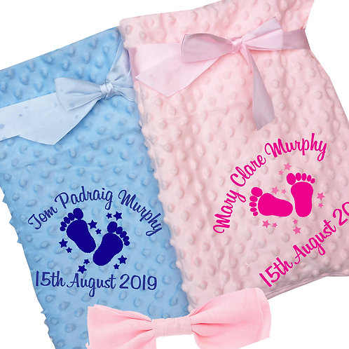 Soft Dimple Baby Fleece Blanket (Blue/Pink/White/Ivory)