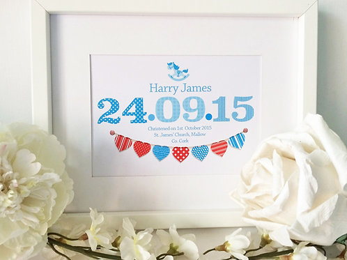 "Blue Baby Christening Print 10X12"" Box Frame"