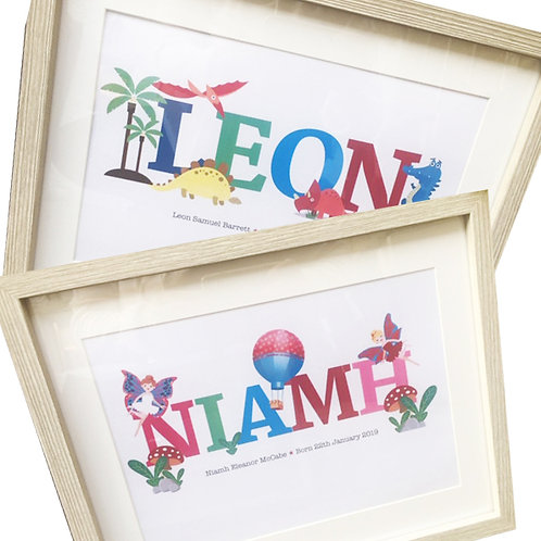 A4 Personalised Children's Name Frames