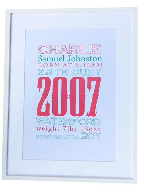 Framed Personalised Birth Announcement Art 16X12inch