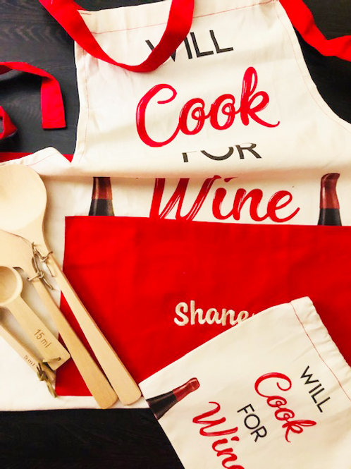 'Will Cook for Wine' Apron - PERSONALISED