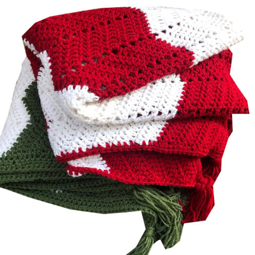 Christmas Crochet Throws - Candy Stripe Style
