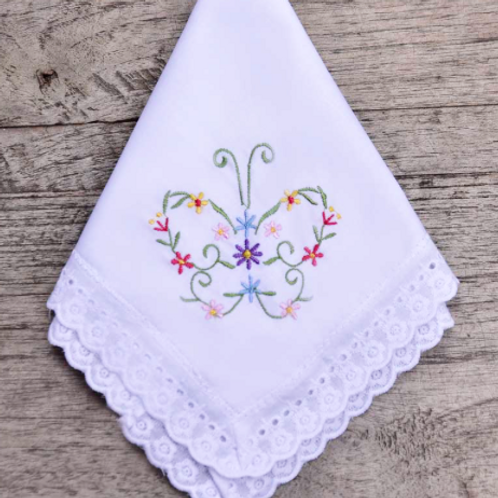 Embroidered Butterfly Hankies - Personalised