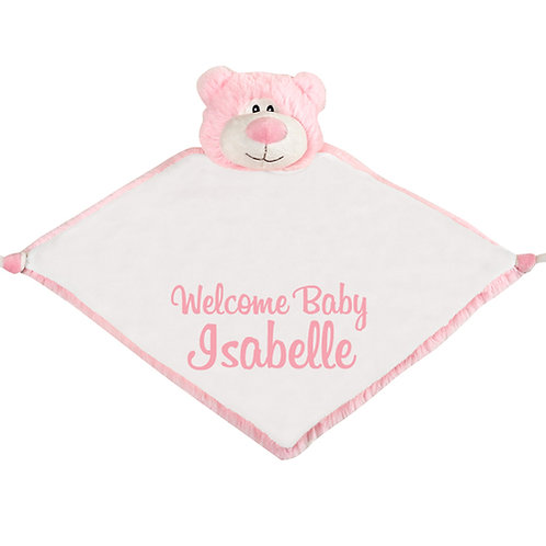Pink Teddy Bear Plush Baby Comforter - Personalised