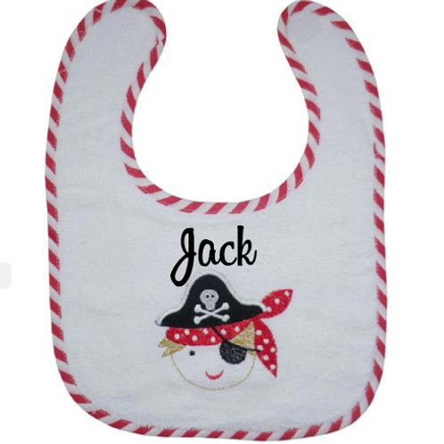 Pirate Themed Towelling Bib - Personalised