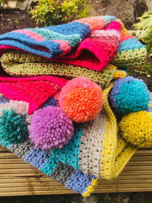 Handmade Crochet Picnic Rugs - Pink Stripe