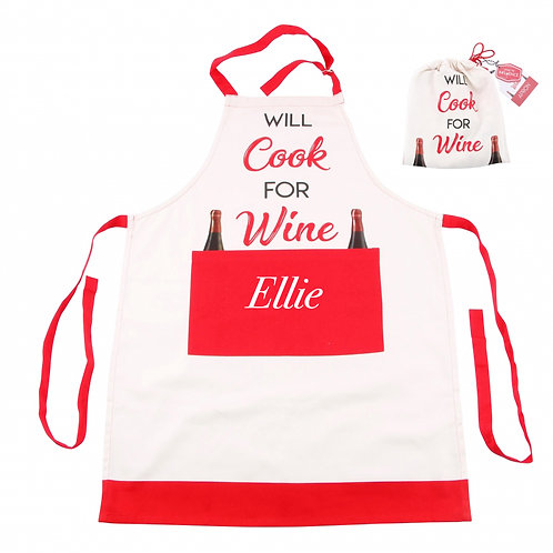 Wine Style Apron with pocket - PERSONALISED