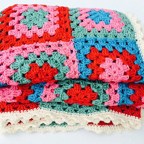 Retro Colours Cotton Crochet Throw - HANDMADE