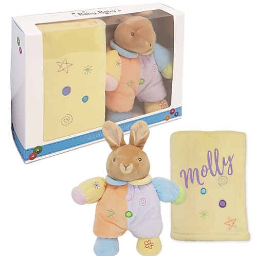 Gift Boxed Plush Bunny and Blanket - PERSONALISED