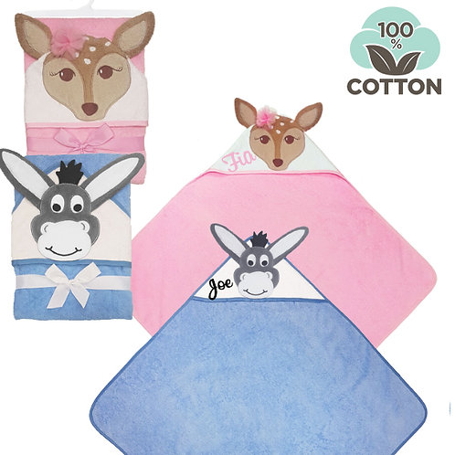 Cotton Hooded Towels - Blue/Pink